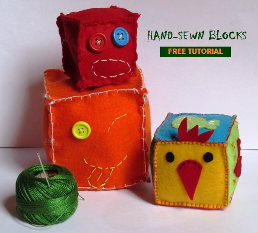 How to hand sew a baby block toy free tutorial for beginners