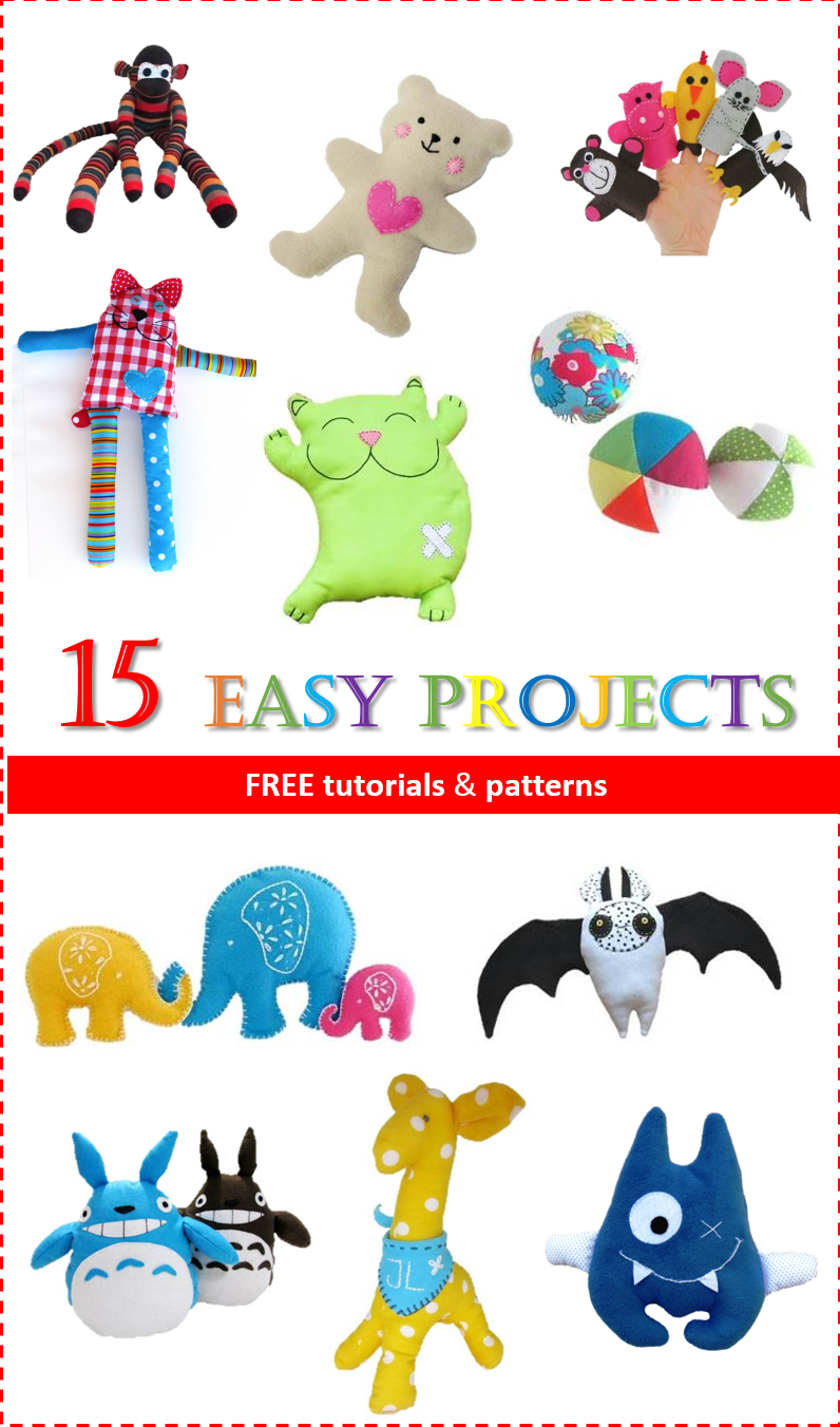 Easy projects for sewing toys free patterns sew toy 15 easy projects for toy sewing free tutorial and patern jeuxipadfo Images
