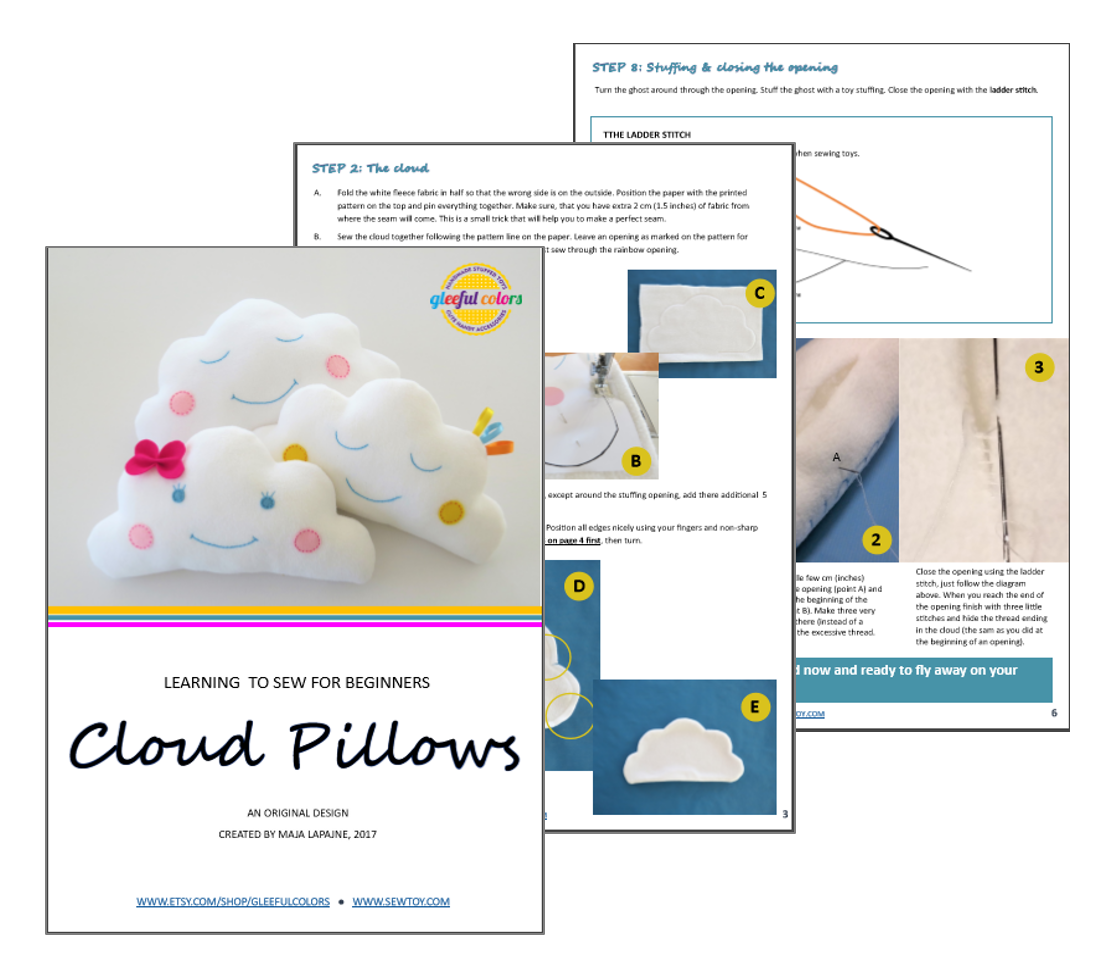 Cloud pillow easy pdf sewing pattern for beginners