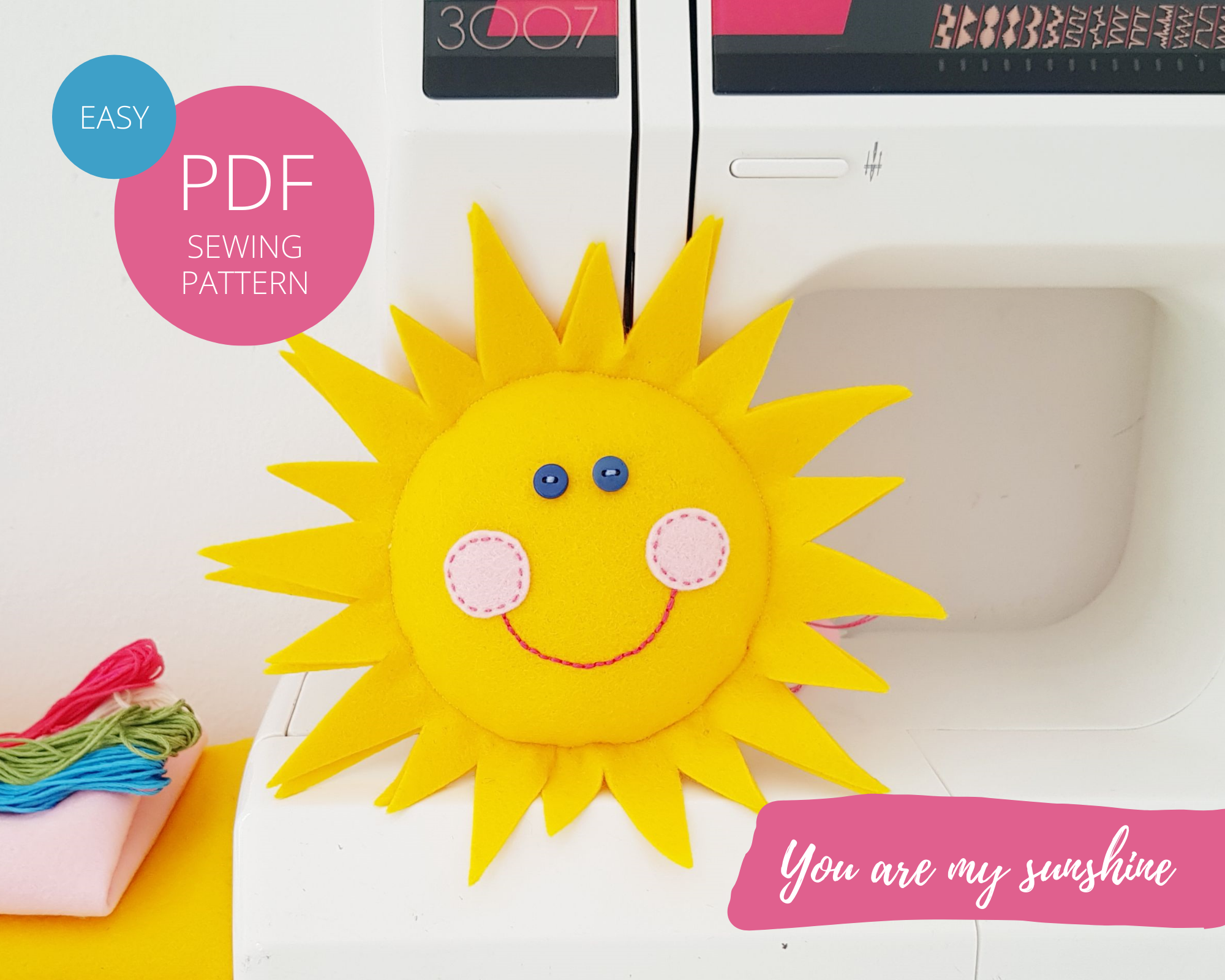 Sun pillow with a smiley face - easy sewing & embroidery DIY project for kids and beginners